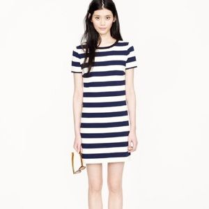 J. Crew Navy Blue/Ivory Striped Rugby Dress Large